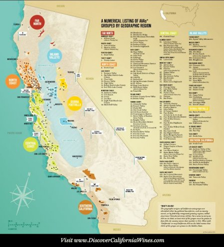 Mapa regionów winiarskich w Kalifornii. Foto: materiały prasowe.