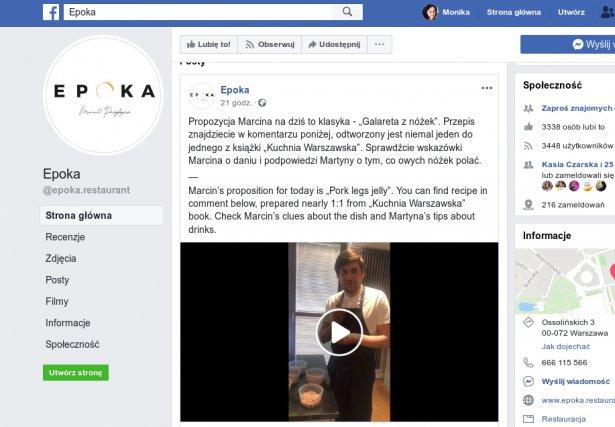 Strona restauracji Epoka na FB. Zdjęcie: Facebook.