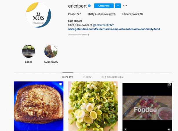 Strona Erica Riperta na Instagramie. Zdjęcie: Instagram.
