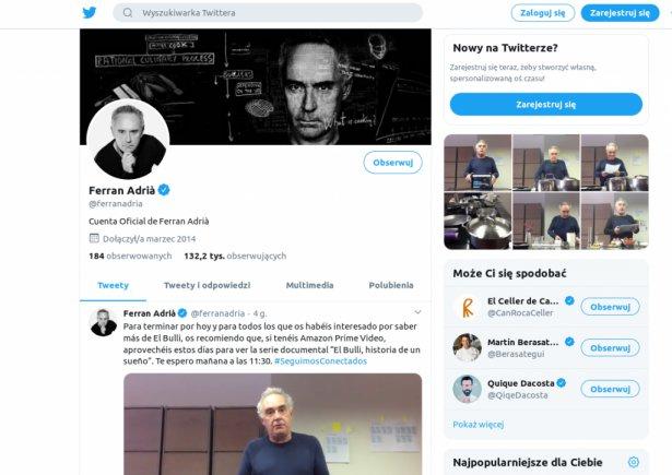 Strona Ferrana Adrii na Twitterze. Zdjęcie: Twitter.