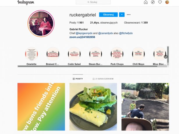 Strona Gabriela Ruckera na Instagramie. Zdjęcie: Instagram.