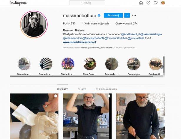 Strona Massimo Bottury na Instagramie. Zdjęcie: Instagram.