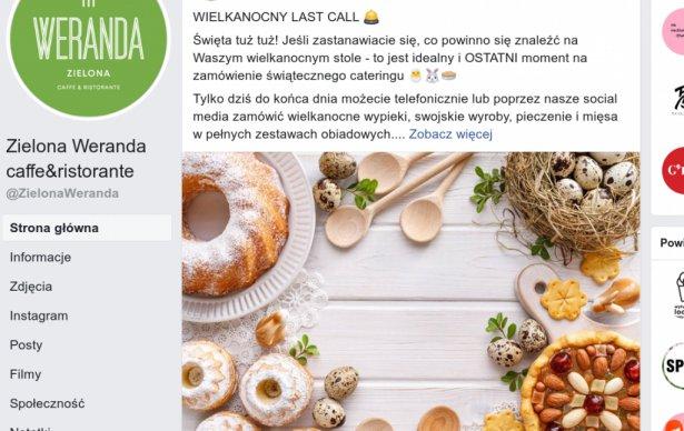Oferta wielkanocna Zielonej Werandy promowana na FB. Zdjęcie: Facebook.