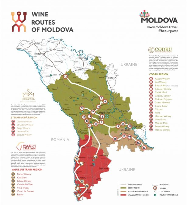 Mapa Winnych Szlaków Mołdawii. Zdjęcie: materiały prasowe.